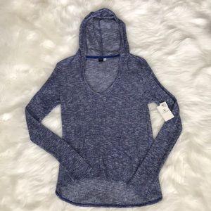 NWT Volcom 'Ready To Go' Blue V-Neck Hood Sweater